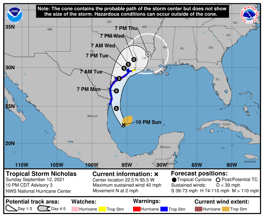 NHC Graphic with the possible track, storm positions, and wind field size.