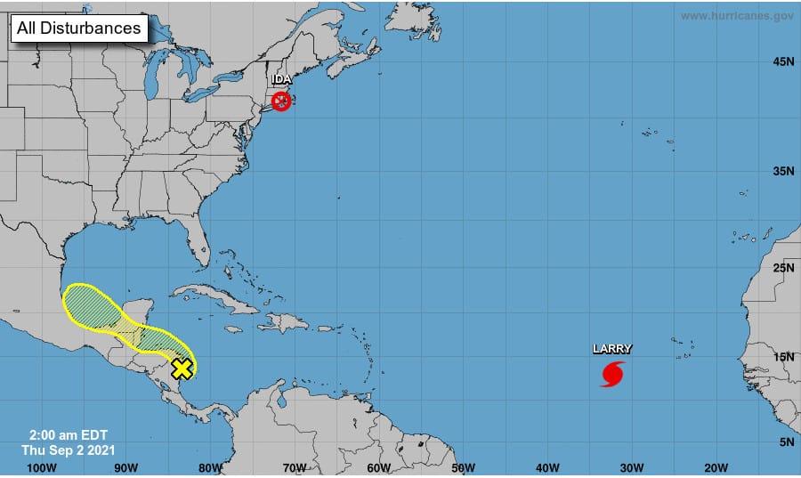 Five day atlantic Hurricane Season Outlook on September 2, 2021. NOAA NHC Graphic