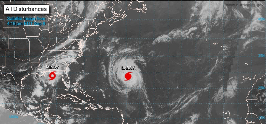 Hurricane Larry and Tropical Storm Mindy September 8, 2021. NHC Graphic