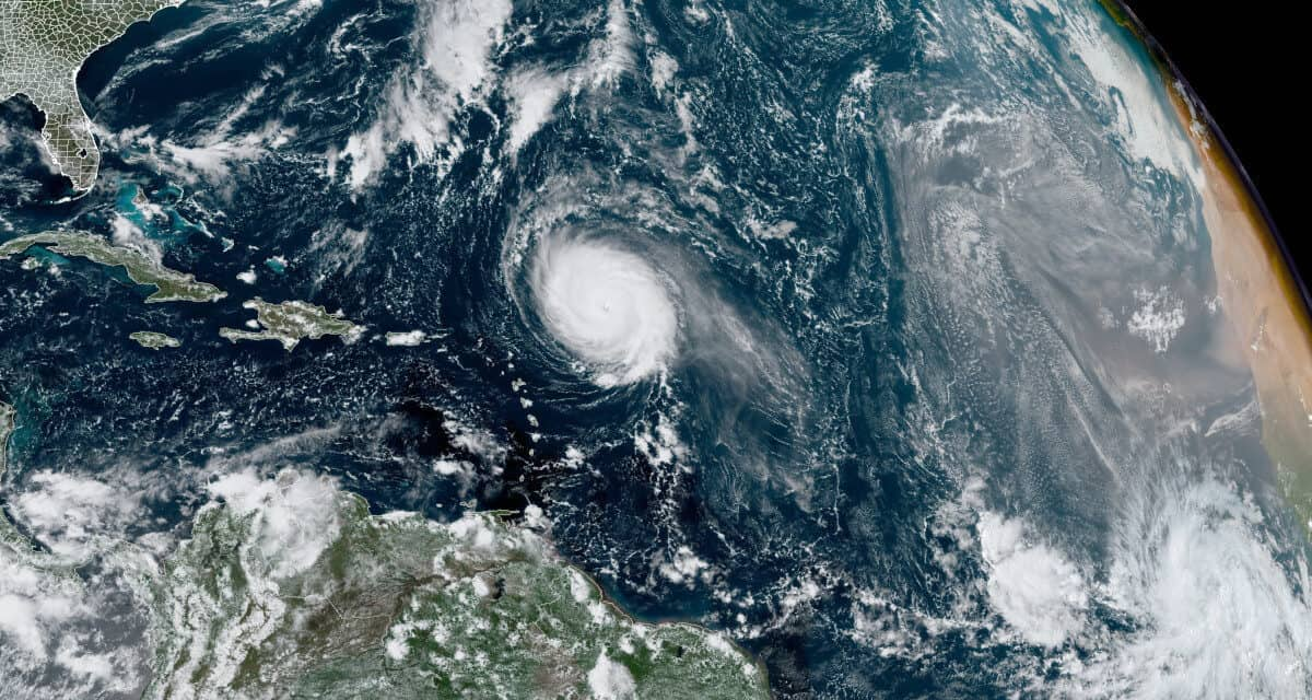 Hurricane Sam a Small Powerful Category 4 Cyclone Over the Atlantic