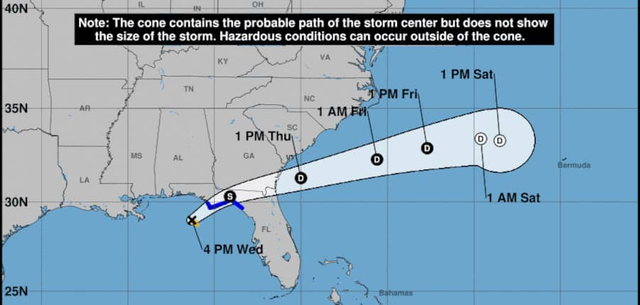 Tropical Storm Mindy Forecast Cone and Track. NHC Graphic September 8, 2021