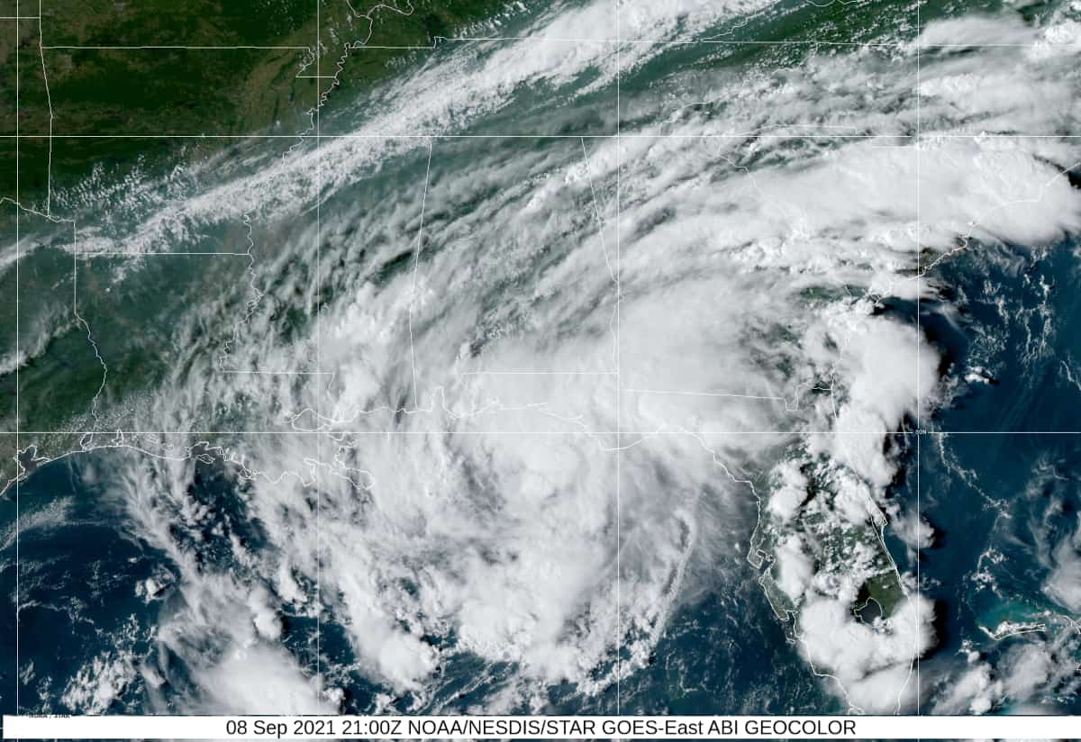 Tropical Storm Mindy shortly after becoming a cyclone on September 8, 2021. NOAA Satellite Image.