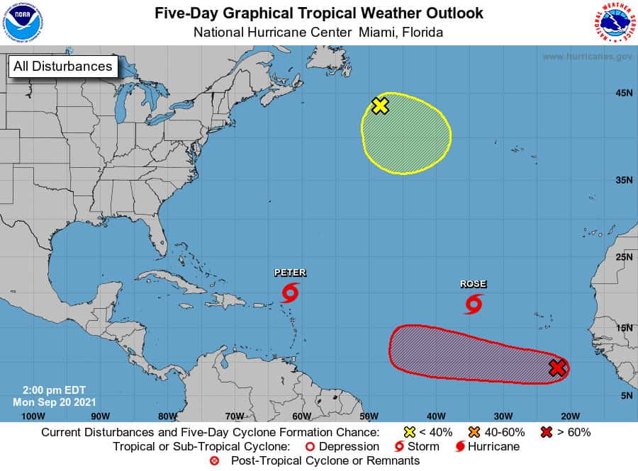 Tropical Weather Outlook on September 20, 2021 showing tropical storms Peter and Rose, tropical wave, and post-tropical cyclone Odette. NHC Graphic.