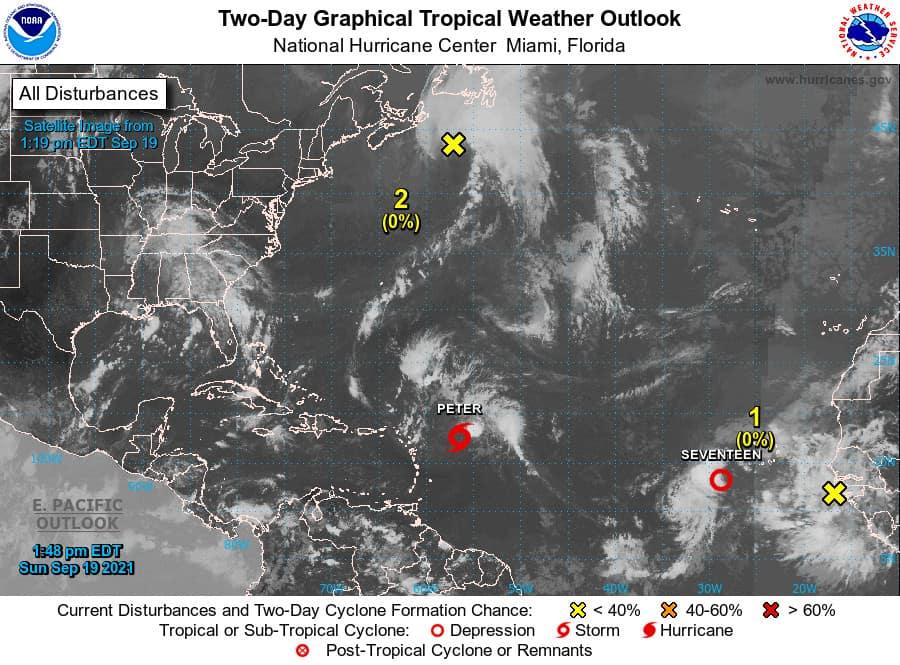 Atlantic Ocean Tropical Weather Outlook for September 19, 2021. National Hurricane Center Graphic.