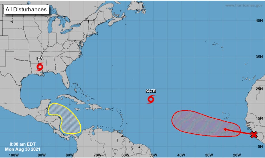 NHC 2 day outlook showing Tropical Storm Ida, tropical storm Kate. NHC Graphic