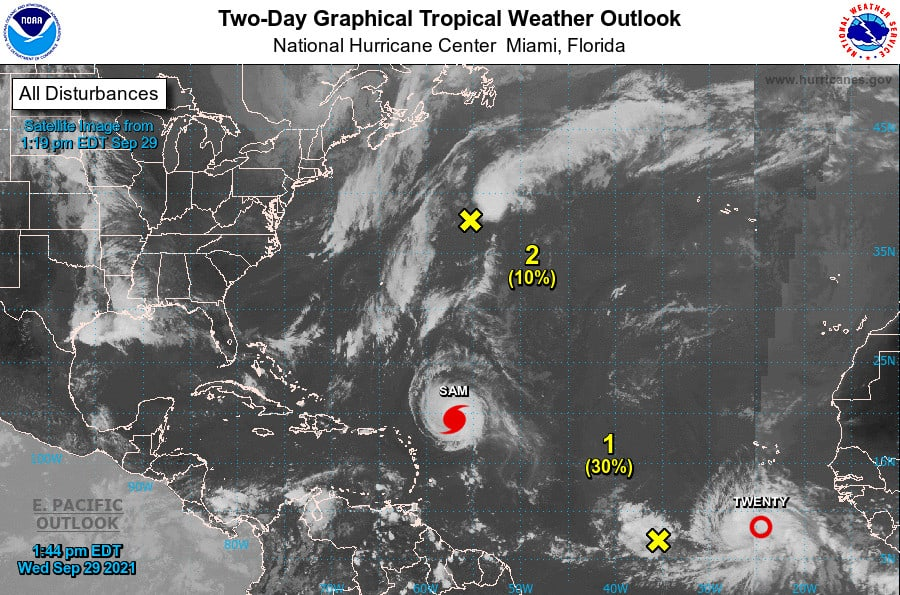 Tropical Weather Outlook for September 29, 2021 with Hurricane Sam, Tropical Depression Twenty, and two other areas of interest. NHC Forecast Graphic.